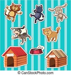 adesivo, gatos, desenho, cachorros