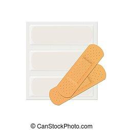 adesivo, gesso, faixa, vetorial, faixa, ajuda, médico