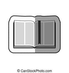 adesivo, grayscale, mezzo, libro, uggia, aperto, nastro