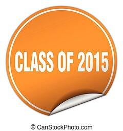 adesivo, isolato, classe, 2015, arancia, bianco, rotondo