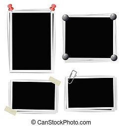 adesivo, jogo, foto, ilustração, clipes, vetorial, pushpins,...