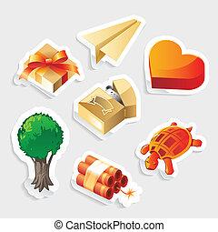 adesivo, jogo, variado, ícone