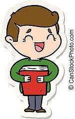 adesivo, livro, rir, segurando, caricatura, homem