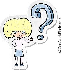 adesivo, mulher, pergunta, caricatura