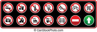 adesivo, proibido, signs.