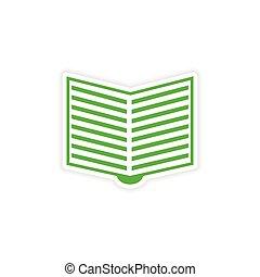 adesivo, realistico, carta, disegno, libro aperto, icona