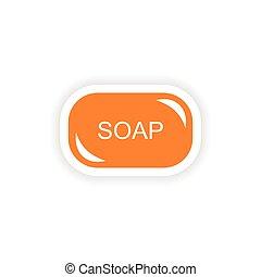 adesivo, realistico, carta, disegno, sapone, icona