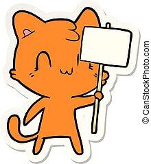 adesivo, segno, vuoto, gatto, cartone animato, felice