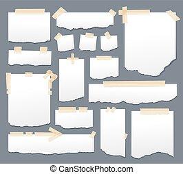 adesivo, sellotape, foglio, illustration., set., bianco, zebrato, carta appiccicosa, vettore, nastro, fogli, carte, promemoria, scotch, messaggio, pagina