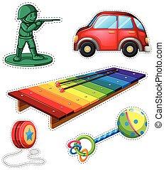 adesivo, set, con, differente, giocattoli