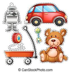 adesivo, set, di, differente, giocattoli
