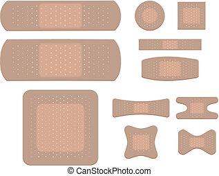 adesivo, set, isolato, fasciatura, fondo, bianco