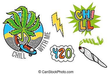 adesivo, set, marijuana