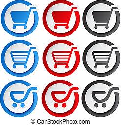 adesivo, shopping, bottone, carrello, vettore, articolo,...