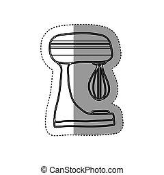 adesivo, silueta, cozinha, misturador, utensílio