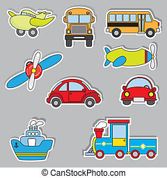 adesivo, transporte, ícones