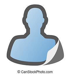 adesivo, usuário, ícone