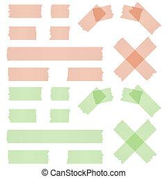 adesivo, verde vermelho, faixa