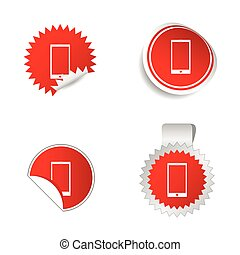 adesivo, vetorial, telefone, vermelho