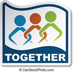 adesivo, vetorial, unido, junto, pessoas