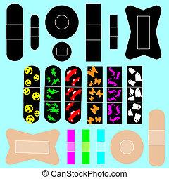 adesivo, vettore, set, fasciature