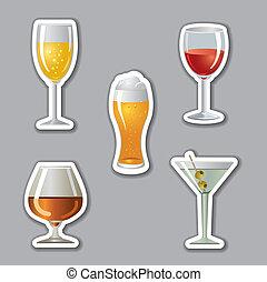 adesivos, álcool, bebidas