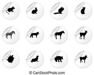 adesivos, ícones animais