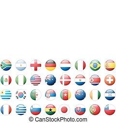 adesivos, botões, de, nacional, bandeiras
