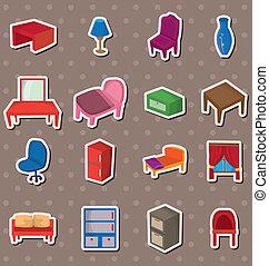 adesivos, caricatura, mobília