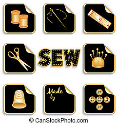 adesivos, cosendo, experiência preta