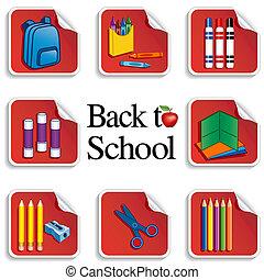 adesivos, escola, maçã, costas