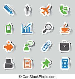 adesivos, -, escritório, e, ícones negócio