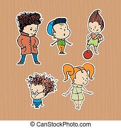 adesivos, grupo, crianças, ilustração