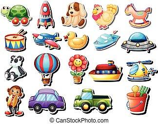 adesivos, jogo, com, diferente, brinquedos