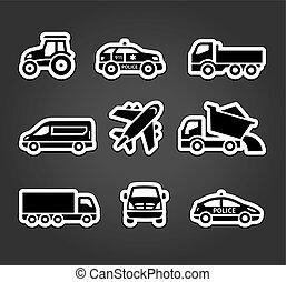 adesivos, jogo, pegajoso, transporte, ícones