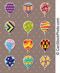 adesivos, quentes, balloon, caricatura, ar