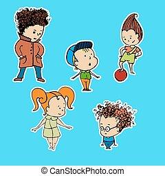 adesivos, vetorial, grupo, crianças, ilustração
