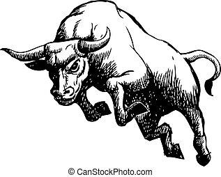 adeudo en cuenta, freehand, toro, ilustración, bosquejo
