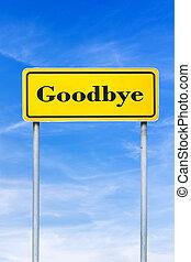 adeus, roadsign