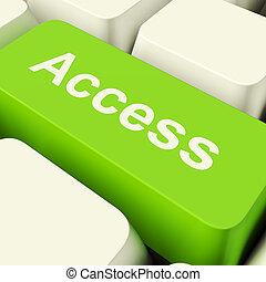 adgang, computer nøgle, ind, grønne, viser, tilladelse, og, garanti