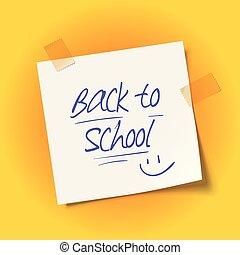 adhésif, école, feuille, dos, papier, message, tape.