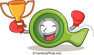 adhésif, gagnant, boxe, caractère, bande, dessin animé