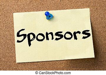 adhésif, -, sponsors, étiquette, goupillé, planche, bulletin