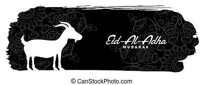 adha, acontecimiento, bandera, al, goat, eid, bakrid