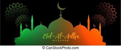 adha, bandera, eid, al, diseño, fiesta, tradicional
