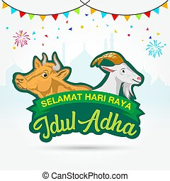 adha, eid, al, idul, translates, selamat, raya, logotipo, mubarak, hari, cow., goat
