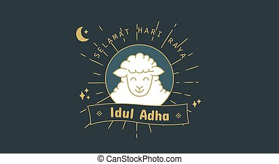 adha, eid, icono, adha.translation:, idul, saludo, selamat, qurban., illustration., vector, símbolo, al, sheep, mubarak., al-adha, feliz