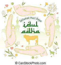adha, feliz, al, eid