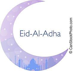 adha., musulmán, saludo, ilustración, ul, holiday., vector, eid, tarjeta