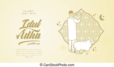 adha, rezando, eid, hombre, adha.translation:, idul, saludo, selamat, qurban., vector, illustration., al, sheep, mubarak., al-adha, feliz